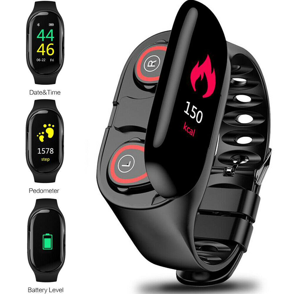 Bluetooth 5.0 Sporty 2 in 1 Earbuds+Watch Health Fitness Tracker Heart Rate NEW!