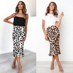 AU Womens High Wasited Leopard Print Stretch Ladies Midi Pencil Skirt Size 6-16
