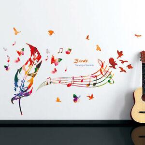 Musik-Feder-Wandtattoo-Wandsticker-Birds-Voegel-Schmetterlinge-Sticker-Aufkleber