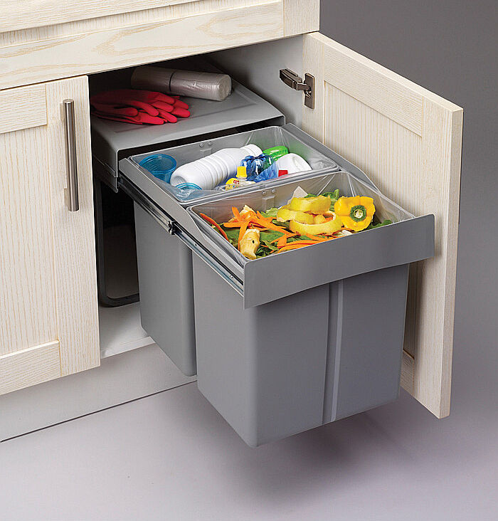 Pull Out Kitchen Waste Recycle Soft Close Dust Bin 300mm Hinged Door Unit