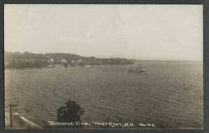 Port-Kent-NY-c-1910s-RPPC-Postcard-BIRDSEYE-VIEW-from-Near-Trembleau-Point