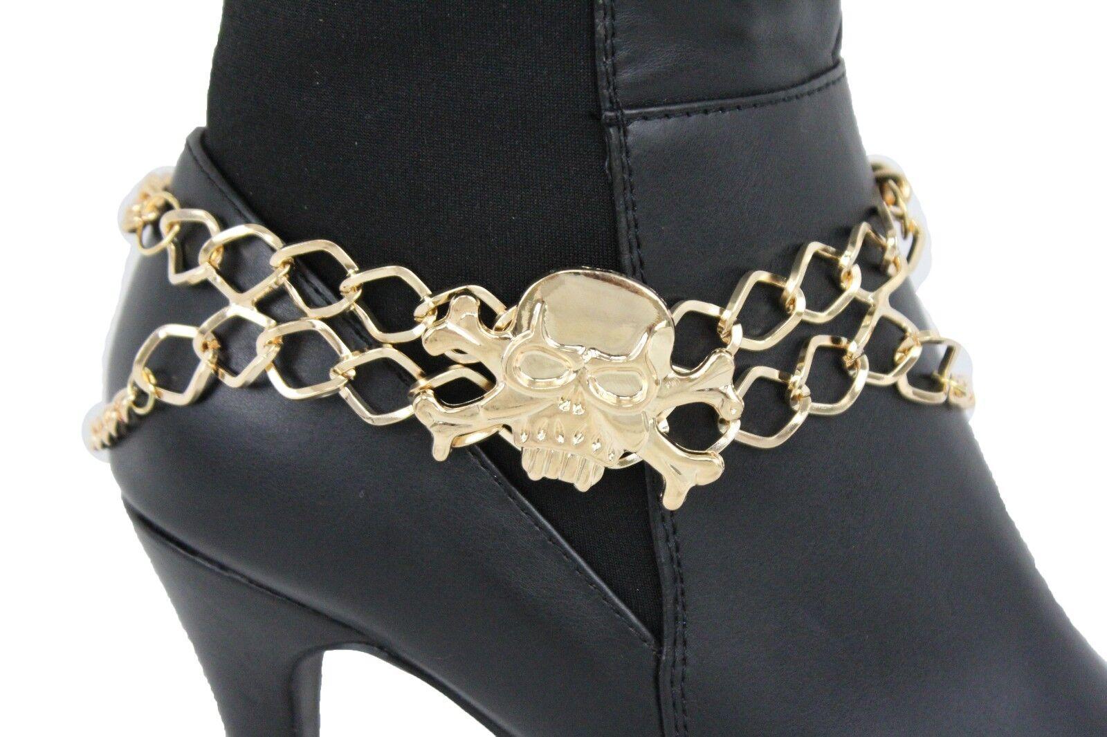 Women Gold Boot Chain Bracelet Western Skeleton Shoe Charm Fashion Jewelry Skull