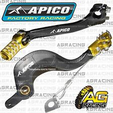 Apico Black Yellow Rear Brake & Gear Pedal Lever For Suzuki RMZ 250 2013-2016 MX