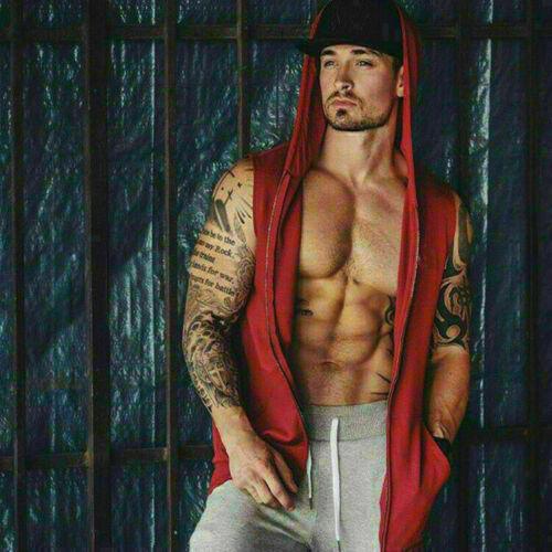 Tee Men Gym Clothing Bodybuilding Stringer Hoodie Tank Top Muscle Hooded Shirt