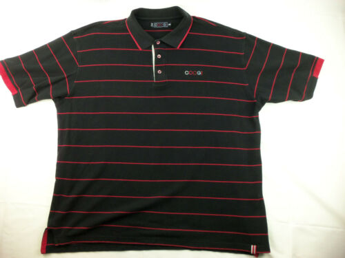 COOGI Short Sleeve Black/Red Stripe Polo Mens Shir