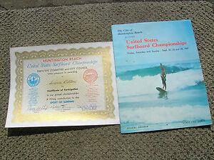 Vintage-Surfer-surfing-magazine-amp-huntington-beach-certificate-diana-bolton-RARE