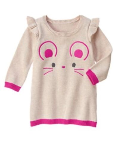 GYMBOREE WOODLAND WONDER OATMEAL w// PINK MOUSE FACE SWEATER DRESS 4T NWT