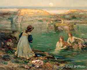 Sea Maidens by Thomas B Blacklock Art Girl Ocean Water Rock Gift 8x10 Print 0733