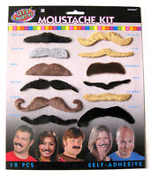 12 Asst Stick On Black Furry Moustache Costume Disguise Gag Mustaches Hair Prop