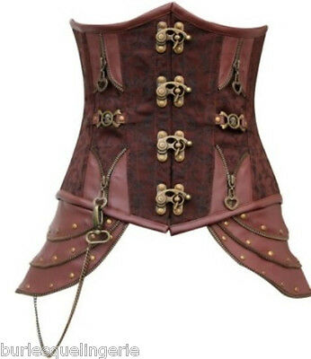 Brown Faux Leather Brocade Underbust Steel Boned Steampunk Victorian Corset -