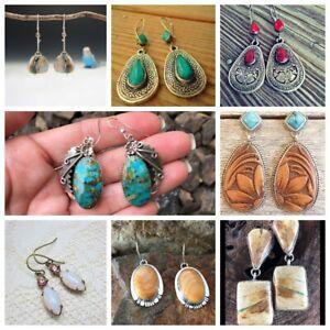 925-Silver-VintageTurquoise-Ear-Hook-Stud-Dangle-Drop-Earrings-Women-Jewelry