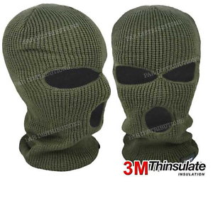 Balaclavas Green Fleece Lined Carp Fishing Clothing Camping 3 Hole 3M Thinsulate