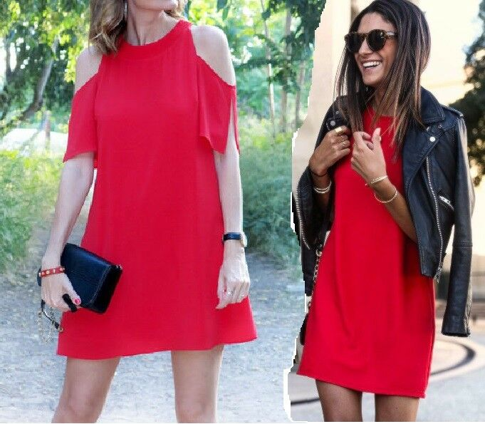 ZARA rot COLD SHOULDER TUNIC MINI DRESS Größe M