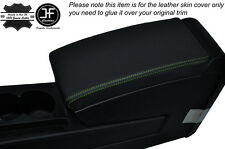 GREEN STITCH ARMREST LID LEATHER SKIN COVER FITS VW PASSAT B7 2011-2014