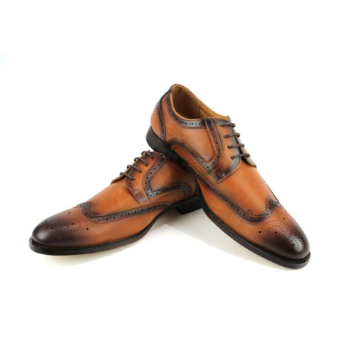 Mens Dress Shoes Cognac Brown Wing Tip Lace Up Oxfords Santino Luciano C-392