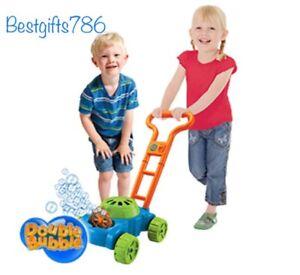 Double Bubble Mower Electronic Bubbles Maker Machine Garden Lawnmower Grass Toy