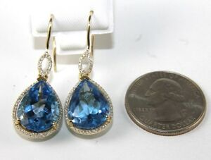Pear-Cut-Blue-Topaz-amp-Diamond-Drop-Dangle-Earrings-14K-Yellow-Gold-17-02Ct