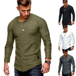 New-long-sleeved-T-shirt-fashion-trend-folds-solid-color-compassionate