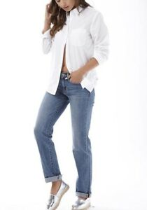 Levi-039-s-Damen-Sidney-1-Pocket-Boyfriend-weiss-Shirt