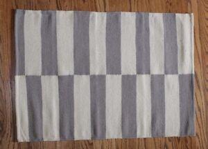 Nip Williams Sonoma Tile Stripe Kitchen Rug Gray 2 X 3 Ebay