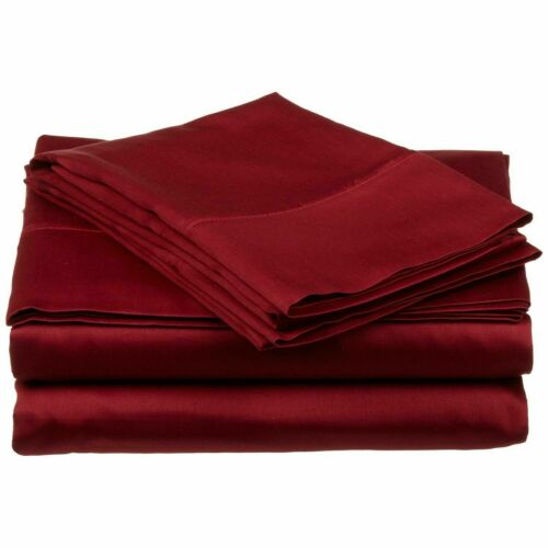 1000 TC 100/% EGYPTIAN COTTON BED SHEET SET BURGUNDY SOLID KING SIZE