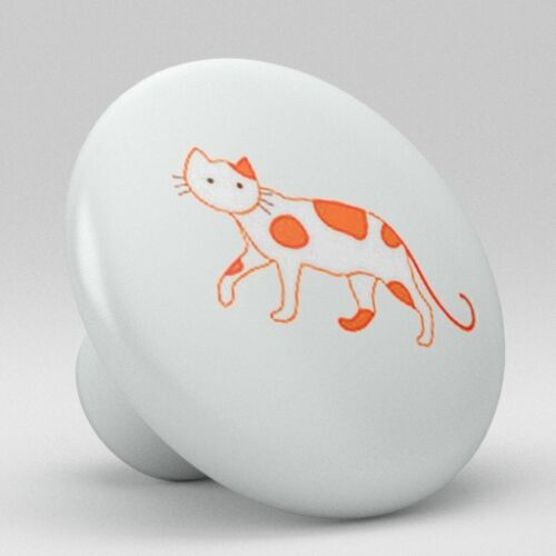 Cat Kitty Ceramic Knobs Pulls Kitchen Bathroom Closet Drawer Door Cabinet 038