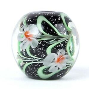 10pcs-exquisite-handmade-Lampwork-glass-beads-black-green-flower-round-14mm