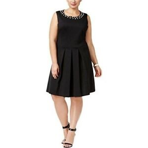 44574ce5636 Charter Club Plus Size Faux-Pearl Trim Pleated Fit   Flare Dress 2X ...