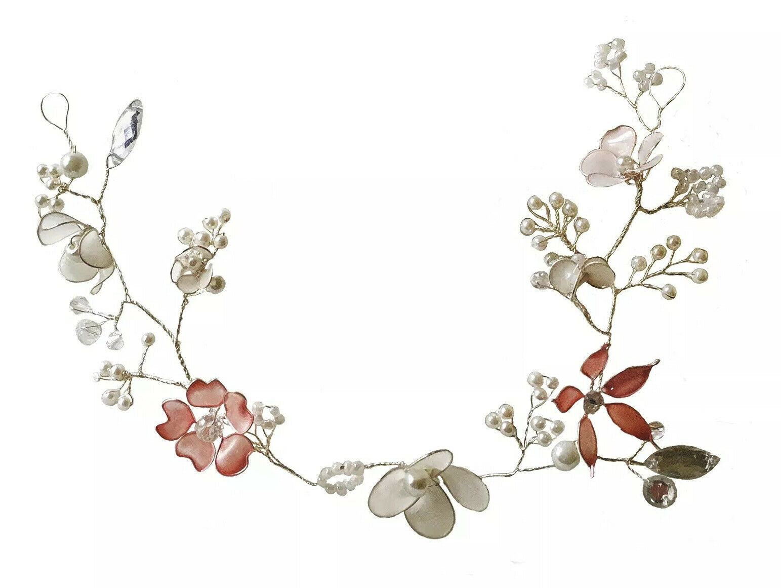 Rustic Floral Hair Vine Beaded Woodland Wedding Halo Flower Crown Boho Bride