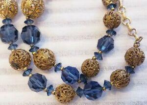 VTG-Czech-blue-Glass-amp-Brass-Filigree-Necklace-beaded-choker-art-deco-necklace