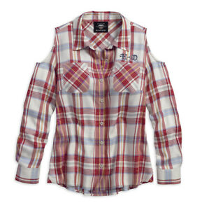 02bd2034c6c056 Image is loading Harley-Davidson-Womens-Americana-Eagle-Plaid-Shirt-Cold-