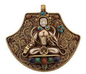 Bianco Tara Ghau a Sospensione Amuleto Tibetano Conchiglia Turchese Gau 25490
