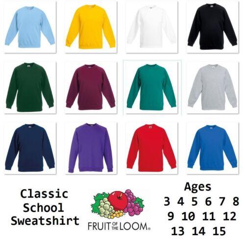Fruit Of The Loom Boys Girls Kids Sweatshirt Jumper Top Raglan School Uniform