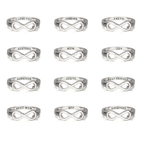 Infinity Best Friends Forever amitié Anneau soeurs Cadeau Mères Anneau Personnalisé Argent Nom Ring