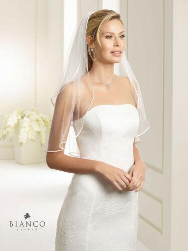 Brautschleier Hochzeit ivory oder weiss 2 lagig Satinkante /& Perlen Markenware
