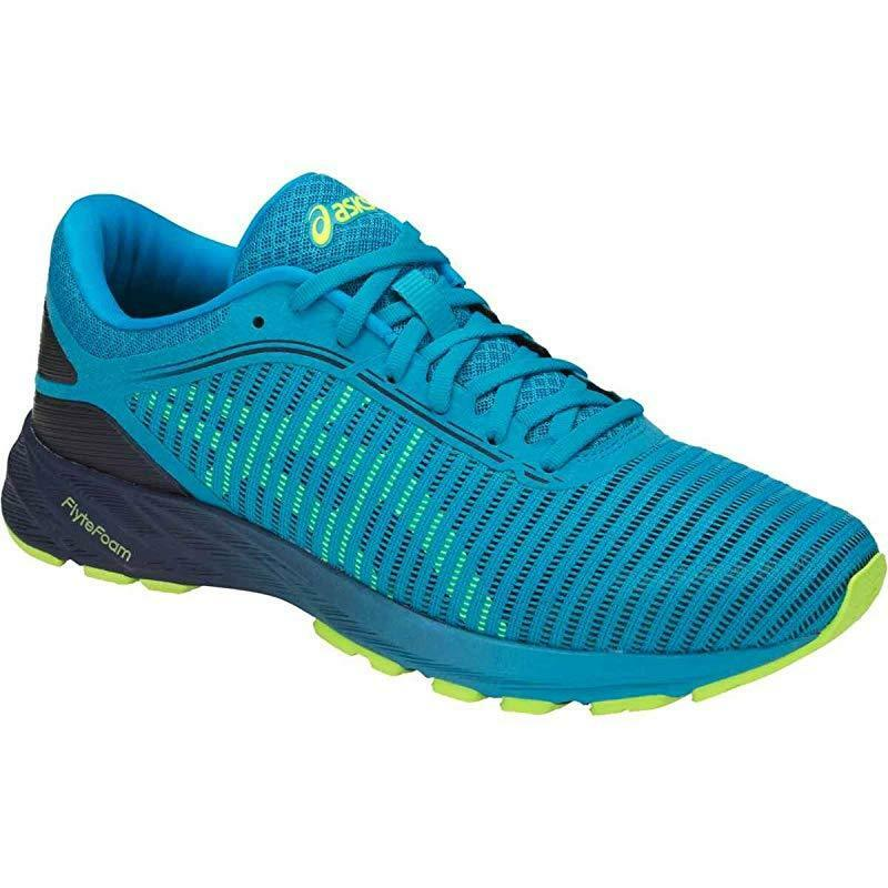 ASICS Uomo Dynaflyte 2 Running Shoe, Island Blue/Safety Yellow/Indigo Blue, 11 D