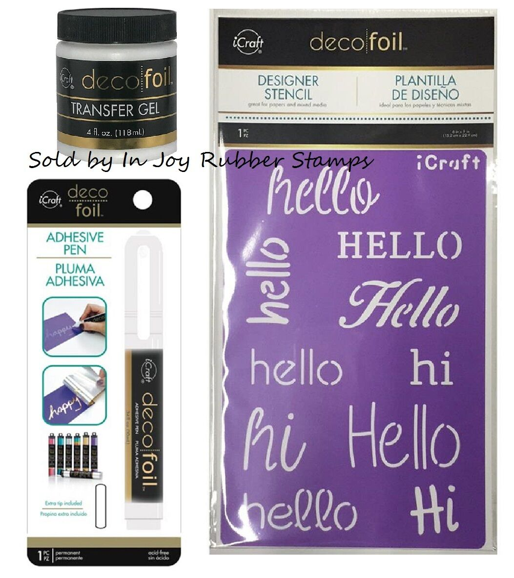 iCraft Deco Foil Adhesive Pen, TRANSFER GEL, Stencil, or