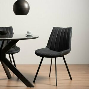 Fontana - Pair of Dark Grey Faux Suede Chairs with Grey Hand Brush on Black Legs