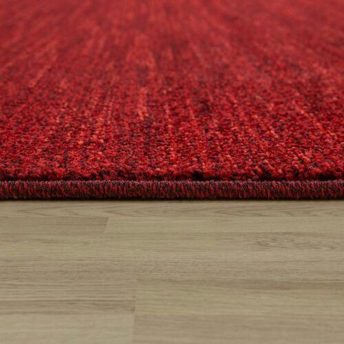 Short-Pile Rug Living Room Modern Velour Soft Mottled Uni in Red