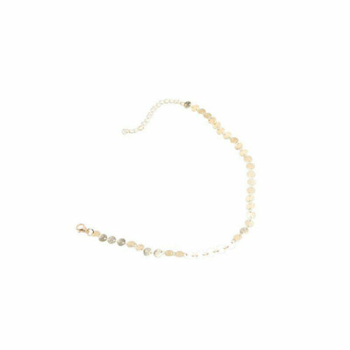 Silver or Gold Minimalist Bling Boho Coin Sequin Layer Chain Choker Necklace