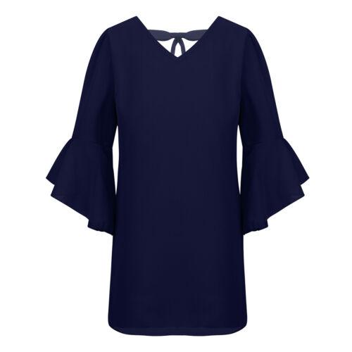 Girls Chiffon Straight Dress Kids Bell Sleeve Casual Party Knee-Length Dresses