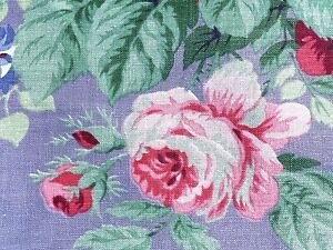 SALE-Victoriana-Floral-on-Lavender-Barkcloth-Era-Vintage-Fabric-1930-039-s-Pillows