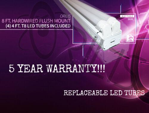 New!! Orilis 8/' 96W Commercial Hardwired Ceiling Fixture LED Tubes 6500K 4