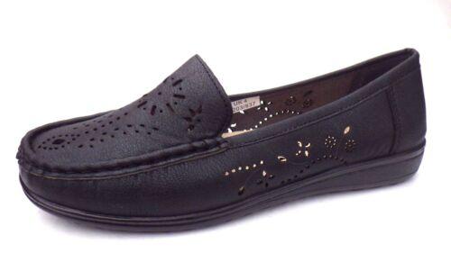 Taille 4 Femme Compensées Chaussures par DR KELLER Noir à Enfiler Escarpins sur Casual 1655