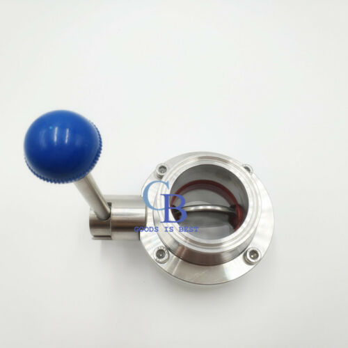 """4 Pieces 2/"""" Sanitary Butterfly Valve Clamp Silicone Sealing Stainless Steel 304"""
