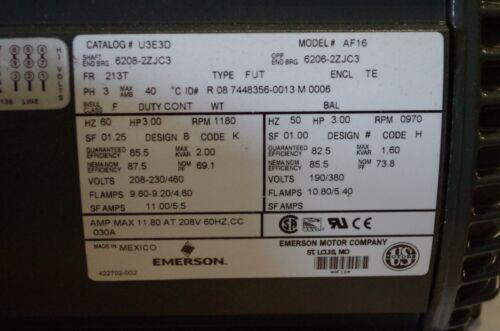 1180RPM EMERSON US MOTORS 3HP AC MOTOR # U3E3D # AF16  208-230//460VAC 60//50HZ