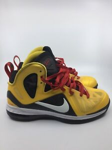 sports shoes 4b4e3 82405 Image is loading Nike-Lebron-9-P-S-Elite-Mens-Yellow-Black-