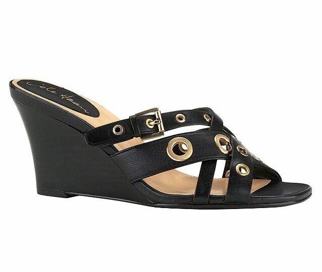 Cole Haan Aire Whitney Diapositiva De Cuero Negro 4532 Zapatos Sandalias de cuña Nuevo
