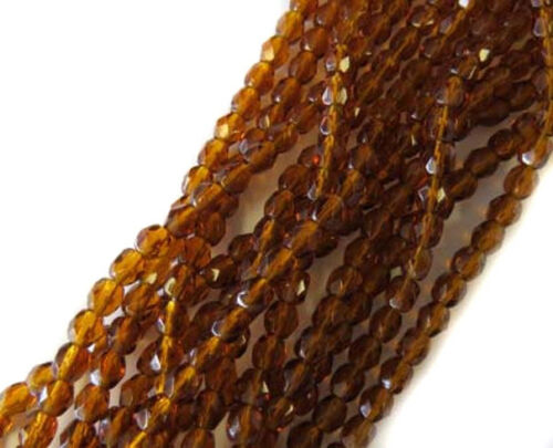 4mm Czech fire Polished 150 Beads Dark Topaz Czech Beads