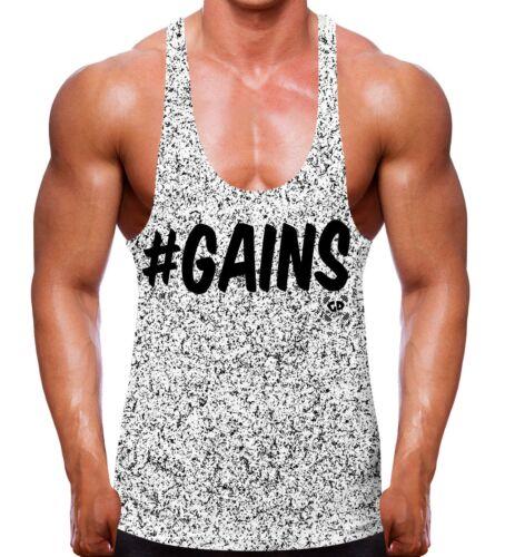 Speckled Gains Stringer Vest Hashtag #GAIN Bodybuilding Clothes Top Gym Wear Men